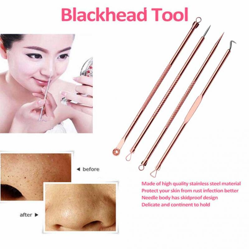 New 4pcs Stainless Steel Premium Blackhead Comedone Acne Pimple Blemish Extractor Remover Cosmetic Makeup Clean Tool Set Kit