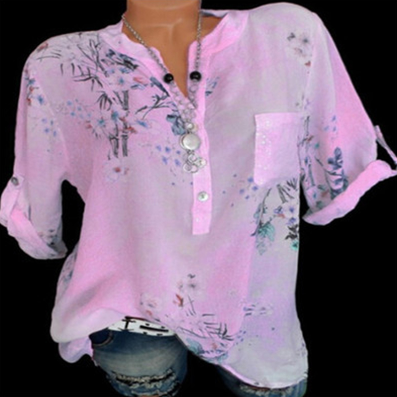 Women V neck Loose Shirt Long Sleeve Printed Blouse Casual Plus Size Shirts Blouses in Blouses amp Shirts from Women 39 s Clothing
