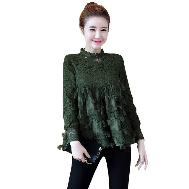 c65b61cf 2018 Women Shirts Full Sleeve Lace Slim Pentagram Tassel Blouse Shirt Green  Black Add White Wool 1801