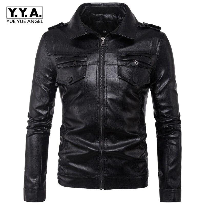 Winter Male Jacket Fashion Epaulet Pu Leather Jacket Men Pockets Black Rock Clothes Slim Fit Large Size M-5XL Motor Biker Coats