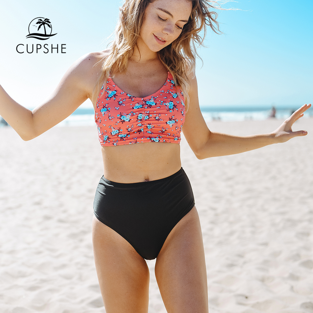 CUPSHE Attract Your Attention Halter Bikini Set Women Lace Up High Waist Two Pieces Swimwear 2018 Girl Bathing Suit Swimsuit alluring halter polka dot lace up crochet bikini set for women