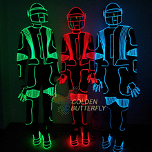 LED luminous /illuminated/glowing dance costumes/suits for men EL cold LED strip Party Dress with helmet free shipping