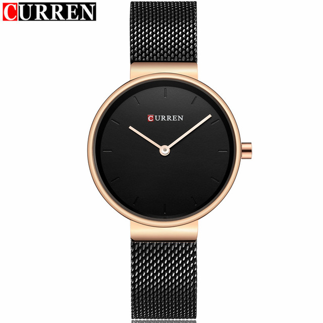 2018 Women's Fashion Dress Quartz Watch Curren Brand Luxury Gold Black Mesh Strap Bracelet Ladies Watches Gifts relogio feminino