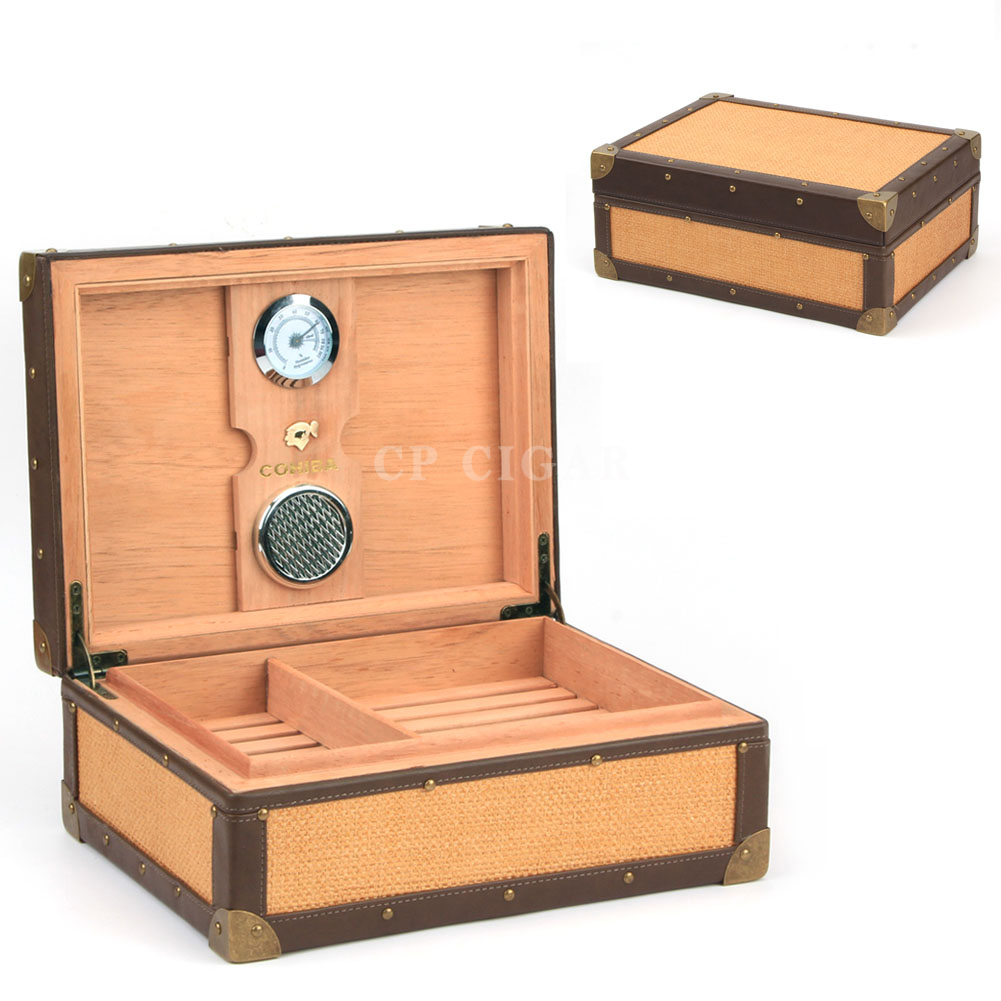 Us 1625 Cohiba Cigar Humidor Spainsh Cedar Lined Wood Cigar Humidor Vintage Trunk Cigar Case Cigars Storage Box W Hygrometer Humidifier In Cigar