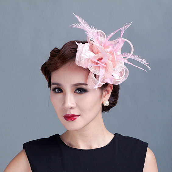 Aliexpress.com   Buy women teal loop Sinamay Hair Fascinators with Feathers  hair clip fascinator headband for races church wedding party from Reliable  ... 003b75c8b6c