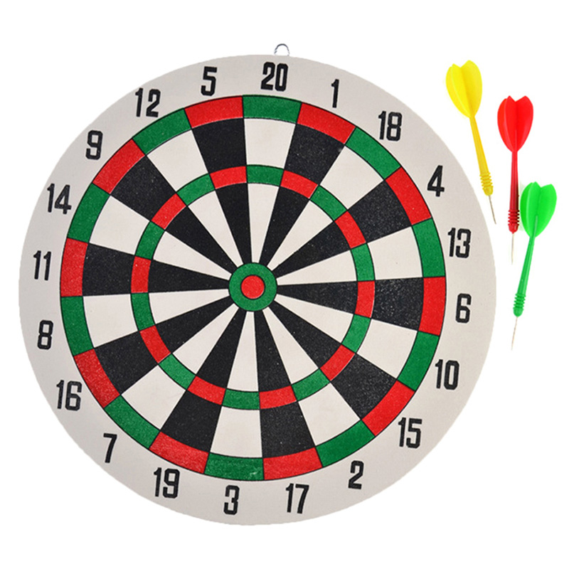 1 Set Double Sided Dart Board With 3pcs Darts Game Set Family Game Dart Board Accessories