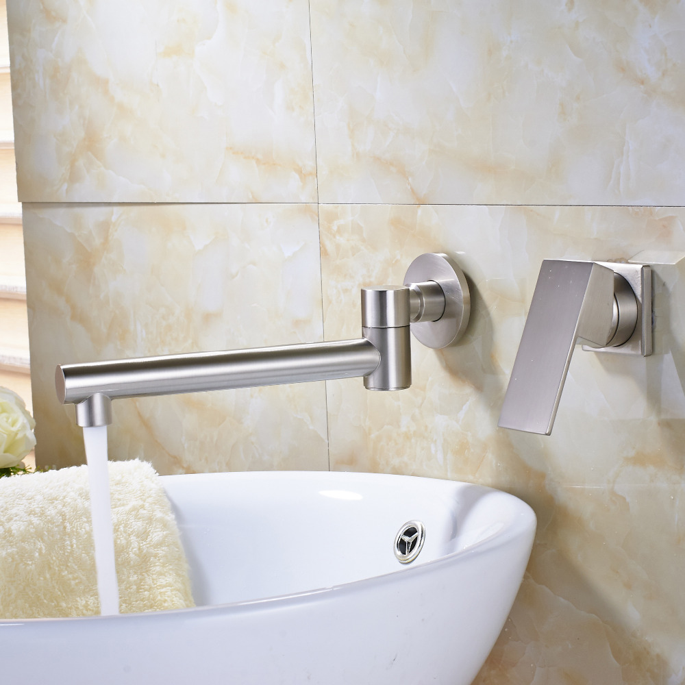 Solid Brass Brushed Nickel Bathroom Sink Faucet Luxury Sink Faucet Mixet Tap NEW