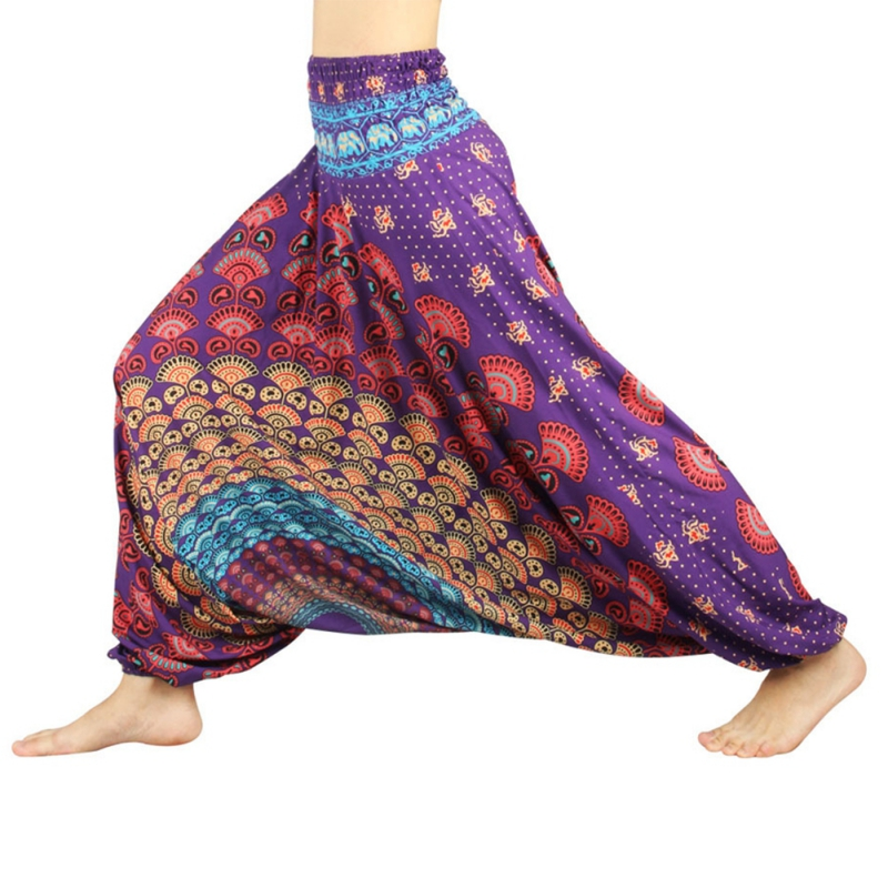 New Style Women 3D Print Polyester India Belly Dance Pants Wide Leg Harem Yoga Trousers Loose yoga pants for fitness