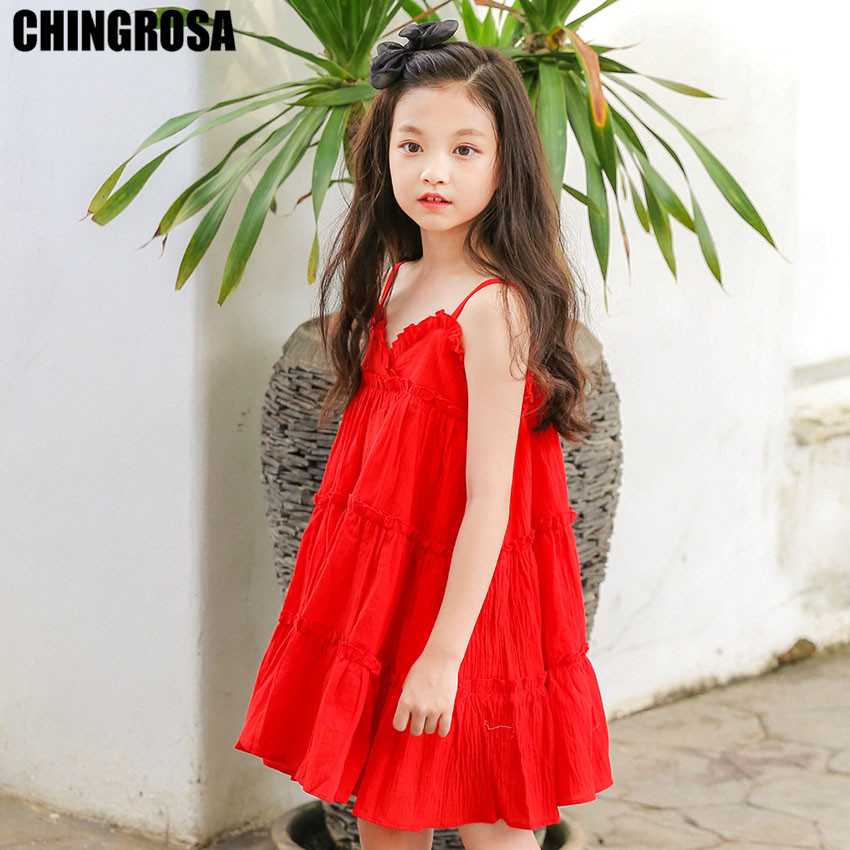 416f6ae6a6 CHINGROSA Red Tiered Solid Ruched Girls Mini Dresses Linen Cotton Princess  Beach Summer Dress Kids Clothing Vestidos Infantil-in Dresses from Mother    Kids ...