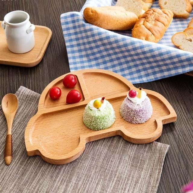 1 pcs New madeira Infantil Alimentação Bonito panda em forma de Prato de Frutas Pratos Crianças gato carro Criança Conjunto De Mesa Q3