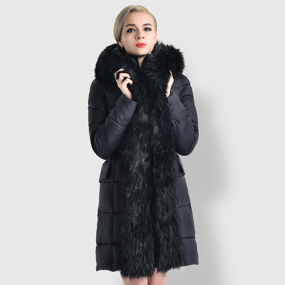 Woman Winter Coat 2017 High-quality New Fashion Long Big Fur Hooded Collar Down Cotton Padded Parka Women Thicken Warm Outwear 2017 fashion winter jacket coat women long thicken down cotton padded faux big fur collar warm female outwear parkas woman