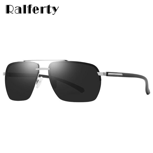 Ralferty UV400 Clássicos Óculos De Sol Dos Homens Polarizados óculos de Sol  Masculino Óculos Sem Aro 799437a096