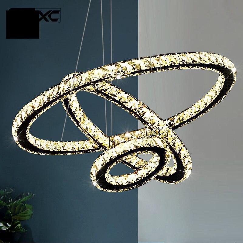 Moderne Ringen Led Kristallen Kroonluchter Opknoping Verlichting Crystal Lustre Hanger Lamparas Plafond Armaturen Armatuur Voor Woonkamer - 2