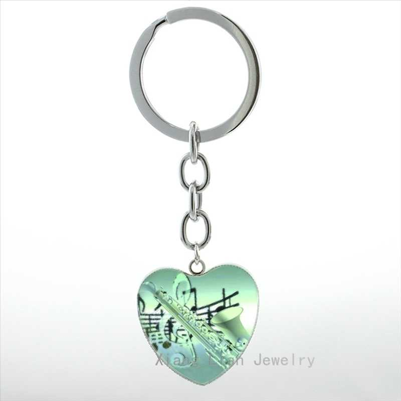 New arrived Saxophone heart pendant keychain fashion Mus Instrument musian key chain ring women men jewelry Christmas HP401