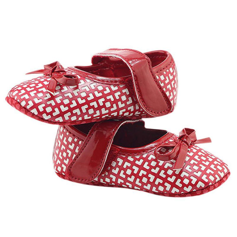 Baby Girl Buckle Strap First Walkers Spring and Autumn Butterfly-knot Shoes Spring and Autumn PU Slip-On Newborn Shoes