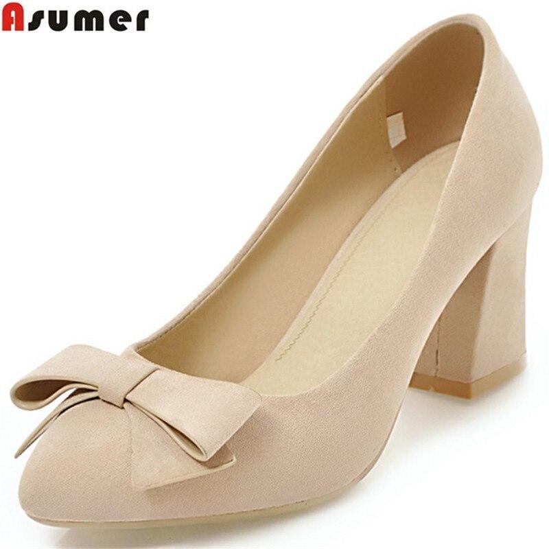 где купить ASUMER black pointed toe spring autumn pumps shoes woman shallow square heel wedding shoes women high heels shoes size 33-43 по лучшей цене