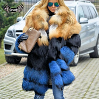 BFFUR red fox jacket Luxury real fur coat Thick Warm 2018 New womens coats russian winter Whole Skin plus size long coat women