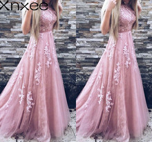 Xnxee Women Evening Party Dress 2018 Sleeveless O-neck Sexy Long Elegant Pink Lace Summer Maxi S-2XL