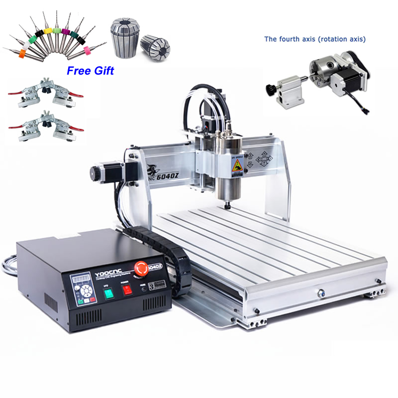 Mini CNC Router 6040 USB 1.5KW 4 Axis CNC Milling Machine 3D Aluminum Wood Engraving MachineMini CNC Router 6040 USB 1.5KW 4 Axis CNC Milling Machine 3D Aluminum Wood Engraving Machine