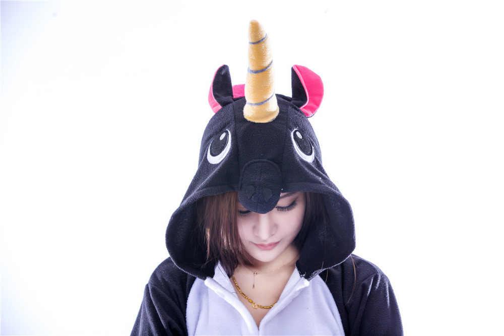 ... 2018 взрослых мультфильм животных черный единорог Комбинезоны Kigurumi  пижамы Костюмы для косплея Sleepsuit пижамы 9df7d5e2ee363