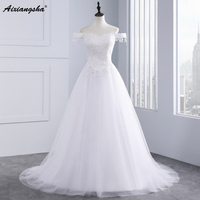Tulle Bridal Gowns Scalloped Neck Sleeveless With Simple Appliques Floor Length Romantic Wedding Dresses Elegant Wedding