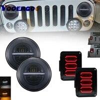 Новейшие светодиодный фонарь с тормозом включение обратного Свет + 7 дюймов 50 Вт круглый светодиодный фары с DRL для Jeep JK Wrangler 07 16