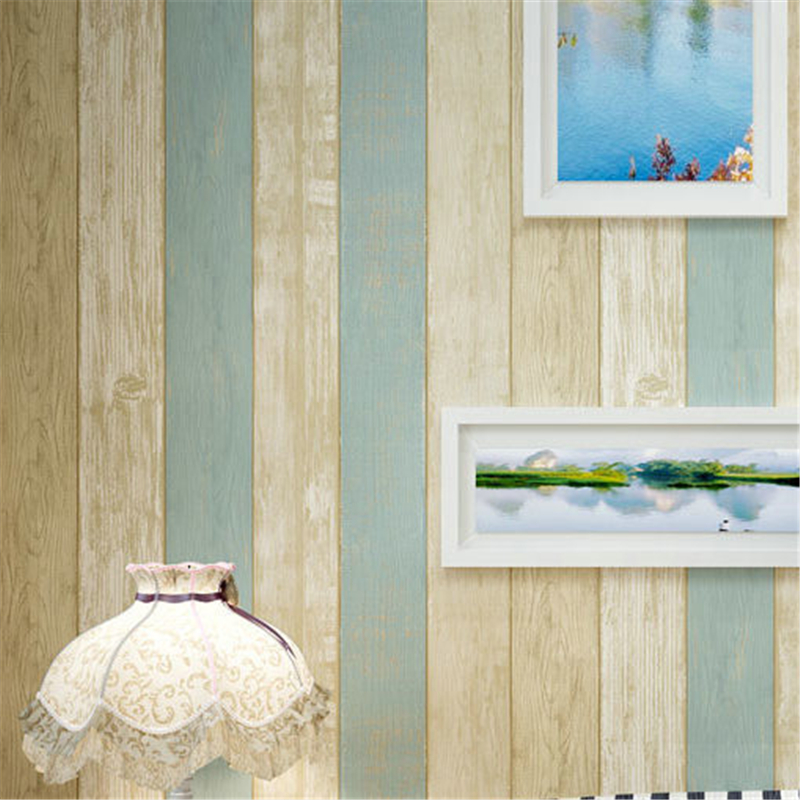 beibehang Non-woven wallpaper roll Rural Minimalist Vintage Classic Mediterranean Stripes Wooden 3D Wallpaper for living room beibehang shop for living room bedroom mediterranean wallpaper stripes wallpaper minimalist vertical stripes flocked wallpaper
