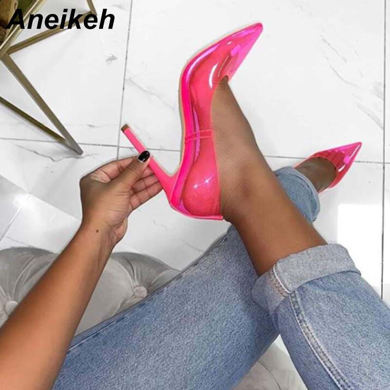 Aneikeh 2019 PU Sweet Clear Women Pumps Transparent High Heels Sexy Slip-On Pointed Toe Wedding Thin Heels Pumps Yellow Pink 40