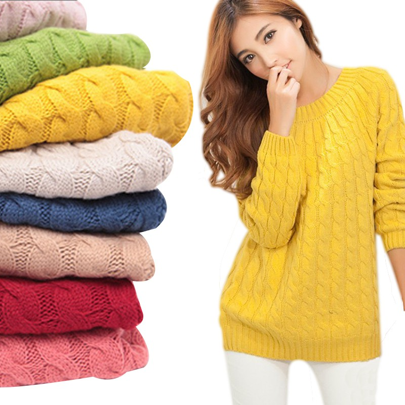 New Fashion Women Christmas Sweter Sweater Pullovers Casual Long Sleeve O-neck Twist Knitted