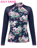 July Sand Sexy Women Rash Guard Swimwear Surfing Long Sleeve Swimsuit With Floral Print 397938