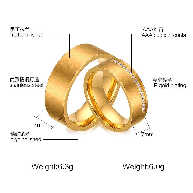 Высокое качество пары 7 мм из нержавеющей стали кольца кольцо золотое напыление для любителей обручальные кольца оптовая CR-114