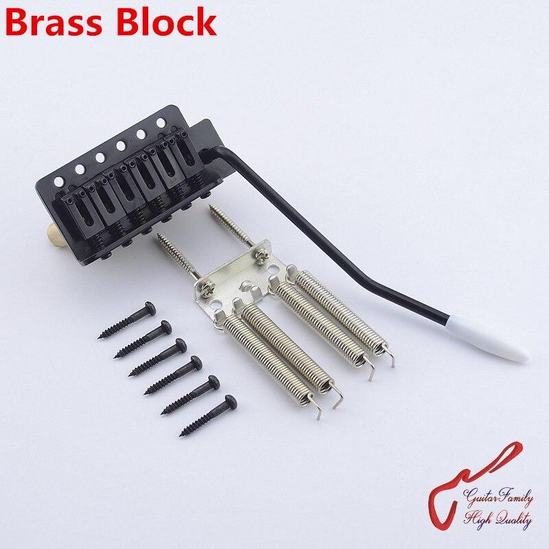 1 Set GuitarFamily Black Electric Guitar Tremolo System Bridge With Brass Block 1164 MADE IN KOREA