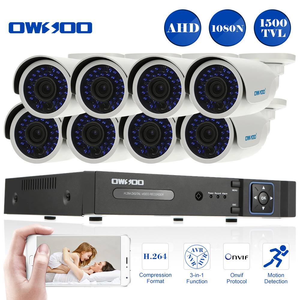 Owsoo 1500tvl 720p Outdoor Security Camera System Kit 8ch