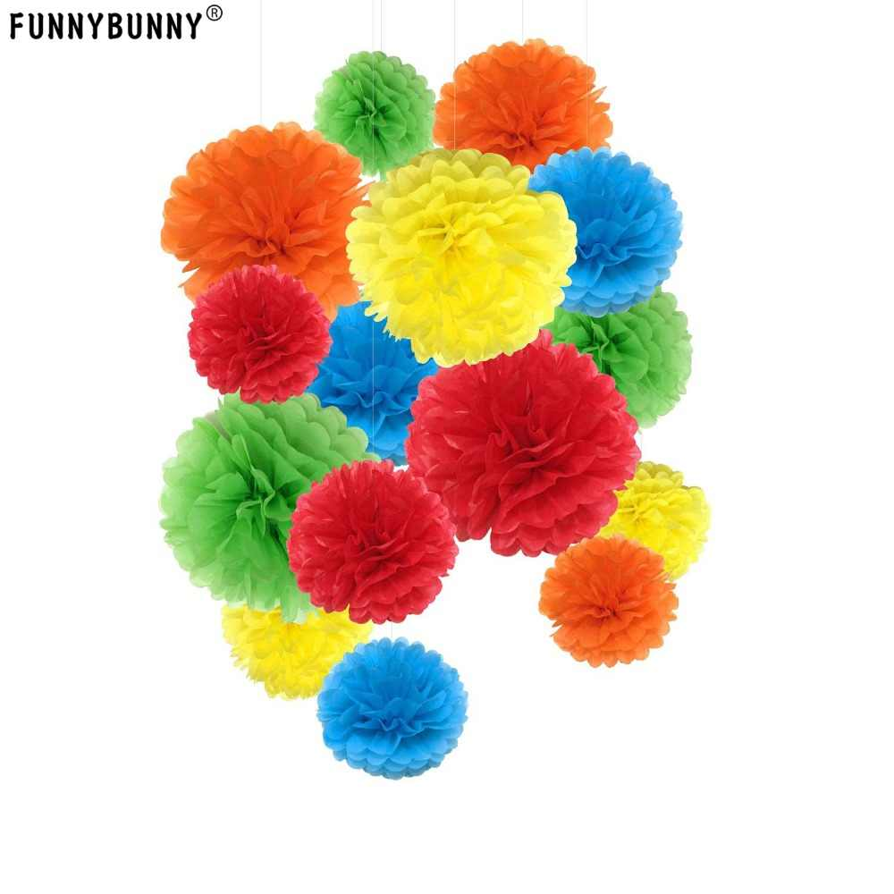 FUNNYBUNNY 13CM Tissue Paper Pom-poms Flower Ball for Wedding and Party and Outdoor Decorate Birthday Wedding Party Celebration