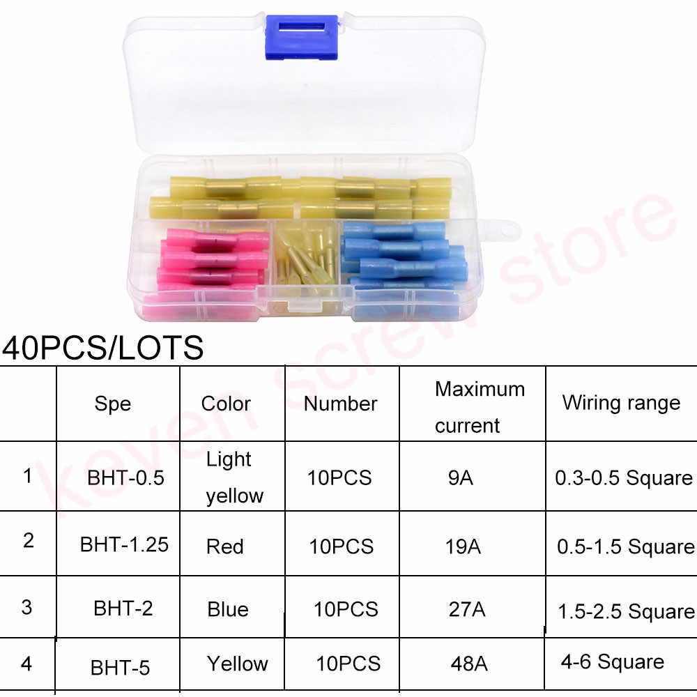 40pcs/lots Waterproof Heat Shrink Butt Connectors Electrical Wire Splice Cable Crimp Terminals Connectors AWG 22-10 Kit