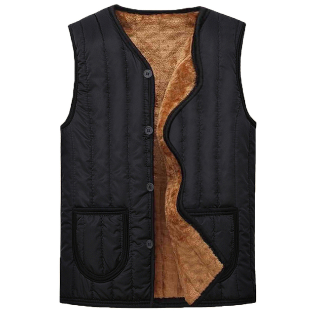 Man autumn plus size plus velvet Casual V-neck Single Breasted waistcoat men solid winter single breasted warm down vest