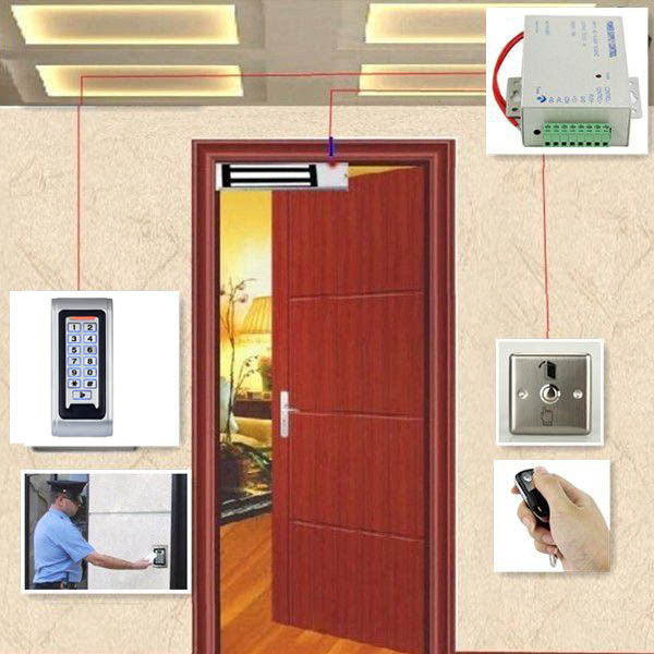 Full RFID Reader Door Access Control System Kit Electric Magnetic Lock + Power Supply + Door Entry keypad + Remote Controller remote control rfid reader access control system full kit set electric strike door lock power supply k2000