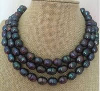 stunning10 11mm baroque black green pearl necklace 38inch