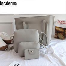 banabanma 4 Pcs/ Set Simple Casual Solid Color Bags Set Women Leisure Single Shoulder Bags Handbags ZK30