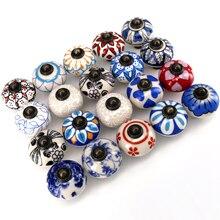 1x Hand painted kitchen cabinet pulls ceramic dresser knobs Antique drawer wardrobe furniture handles Knobs