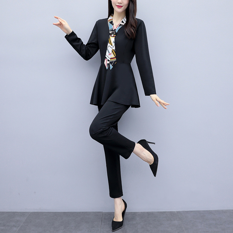 L-5xl Black Autumn Two Piece Sets Outfits Women Plus Size Long Sleeve Tunics Tops And Pants Suits Elegant Office Ol Style Sets 27