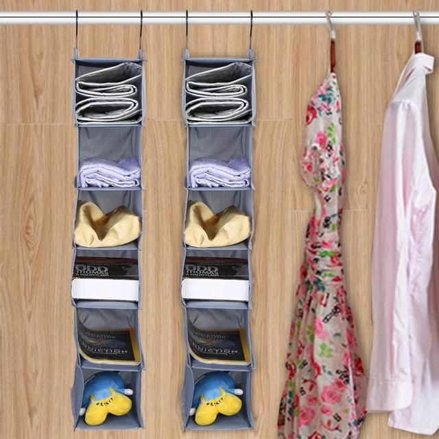 6 Tier Wardrobe Closet Hanging Shelf Shoes Clothes Garment Storage Organizer