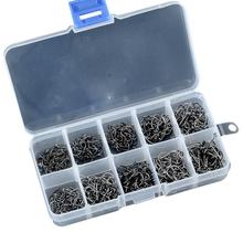 500 Pcs/box 3# -12# Size Carbon Steel Fishing Hook Durable Head Hooks with Hole Carp Tackle Box