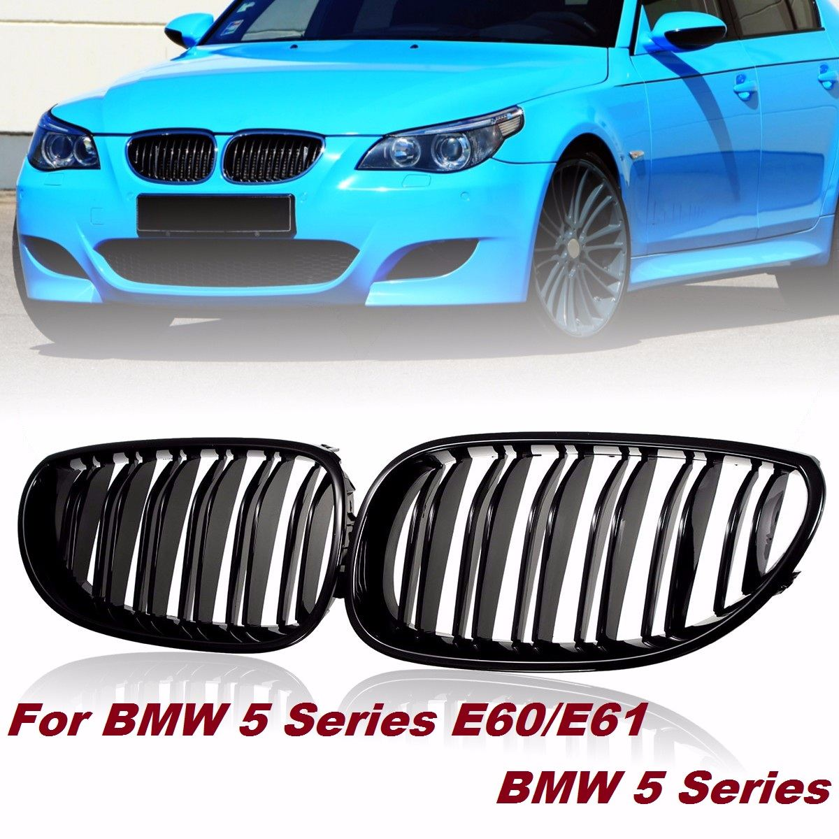 Pair Gloss/Matte Black Car Front Sport Grill Kidney Grilles Grill For BMW 5 Series M5 E60/E61 2003 2004 2005 2006 2007 2008 2009 pair gloss matt black m color 2 line front kidney grille grill double slat for bmw e90 e91 3 series 2004 2005 2006 2007