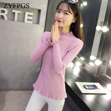 ZYFPGS 2019 Lady's Sweater Wave hem Pink Basic Pullover Sale Top College Style Elegant Sweater Knitting Pullover Harajuku Z0820 pullover frayed hem knitted top