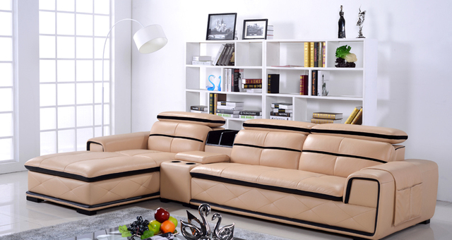 Free Shipping Eenuine Leather Sofa , Beige Color Modern And Smart Design,  Top Grain Cattle