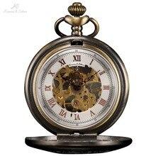 KS Medio Cazador Serie Números Roma Blanco Dial de La Vendimia Del Collar Del Reloj de Bronce Curvado Caso Masculino Hombres Reloj de Bolsillo Mecánico/KSP046