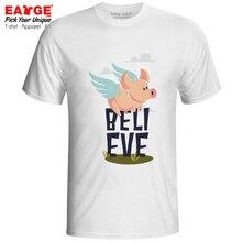 I Believe Can Fly T-shirt Funny Motto Pig Angle Fashion Design Pop T Shirt Punk Creative Women Men Top Tee