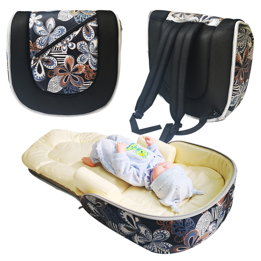 Portable Travel Baby Bed Fabric Crib Both Shoulders Mummy Bag Newborns Baby Foldable Crib Detachable Child Cotton Bed