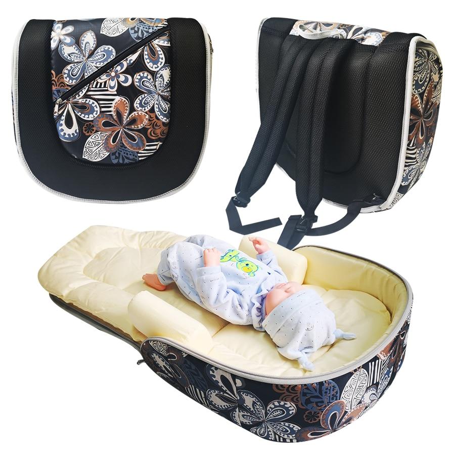 Portable Travel Baby Bed Fabric Crib Both Shoulders Mummy Bag Newborns Baby Foldable Crib Detachable Child Cotton Bed